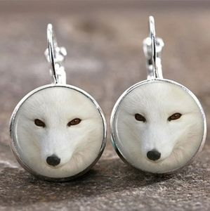 New White Fox Glass Cabochon Silver Earrings